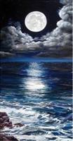 Diamond Painting, Måne over blått hav 30*60cm FPR