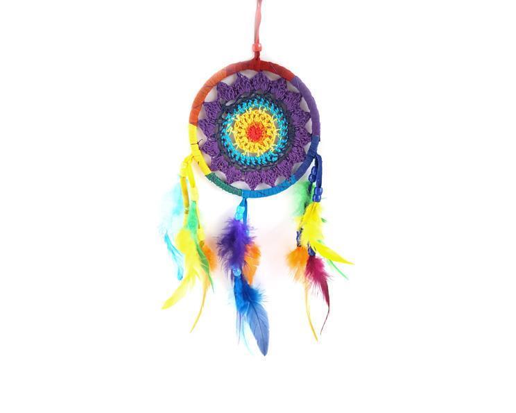 Drömfångare - Rainbow makramé 11cm (6 pack)