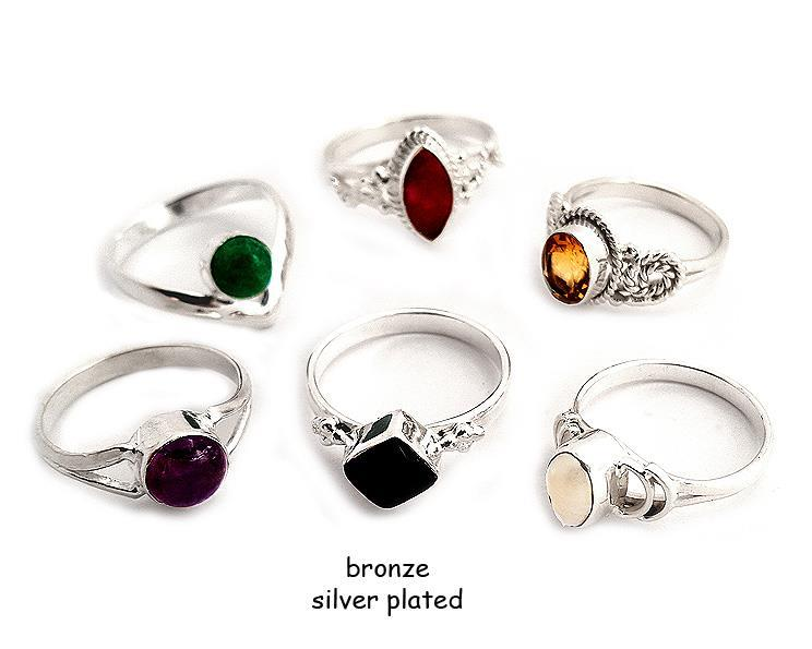 Ring - Brons silverpläterad mix (6 pack)