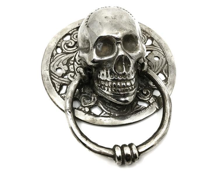 Brons - Silver skalle dörrknackare 11,5cm (2 pack)