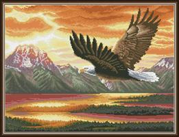 Diamond Painting, Flyvende ørn 66,7*51,5cm FPK