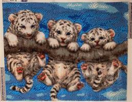 Diamond Painting, 3 Tigerbarn på gren 50*40cm FPR