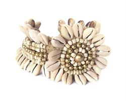 Armband - Cowry blomma vit (4 pack)