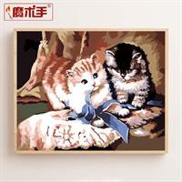 Diamond Painting, Katter m/sløyfe 40*50cm, kvadrat FPK
