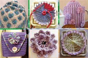 Blomsterdekor broderi strikk, 6 design
