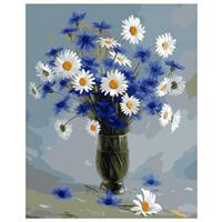Male etter nummer, Blå blomster 40*50cm (RSL0177)