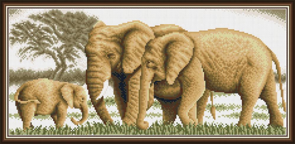 Diamond Painting, Elefanter m/barn 61,7*31,3cm FPK
