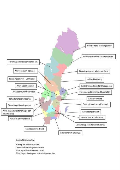 Regionala arkiv i Sverige - en kartbild