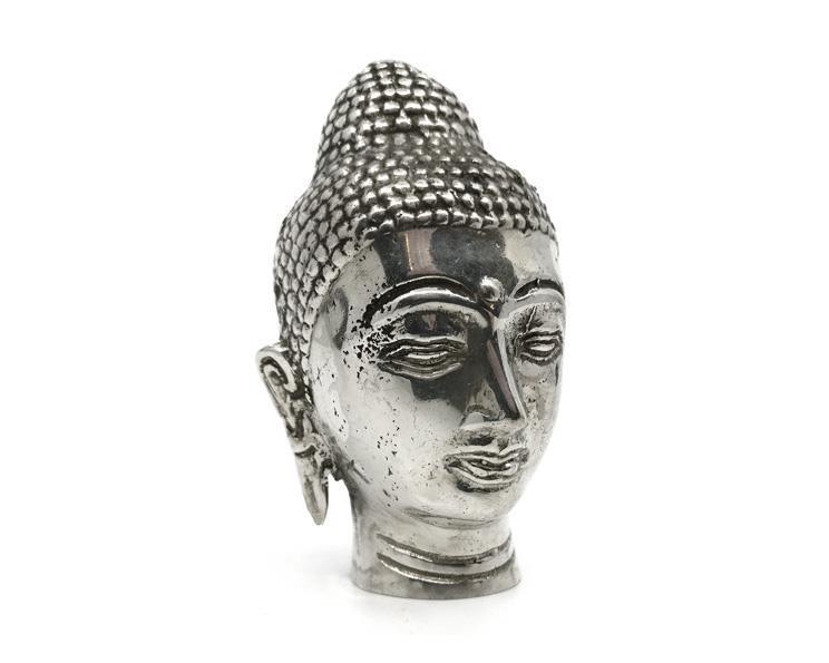 Brons - Silver Buddha ansikte 9,5cm (2 pack)
