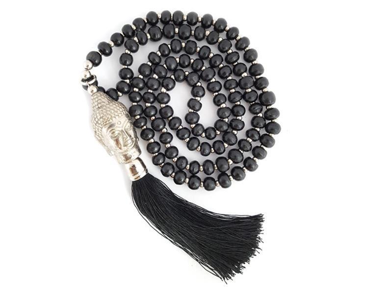 Halsband - Buddha träpärlor svart (6 pack)