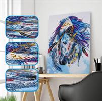 Diamond Painting, Hest blå 30*20cm AP