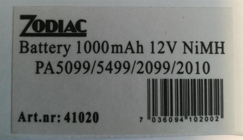 Zodiac batteri til PA5099/5499/2099/2010
