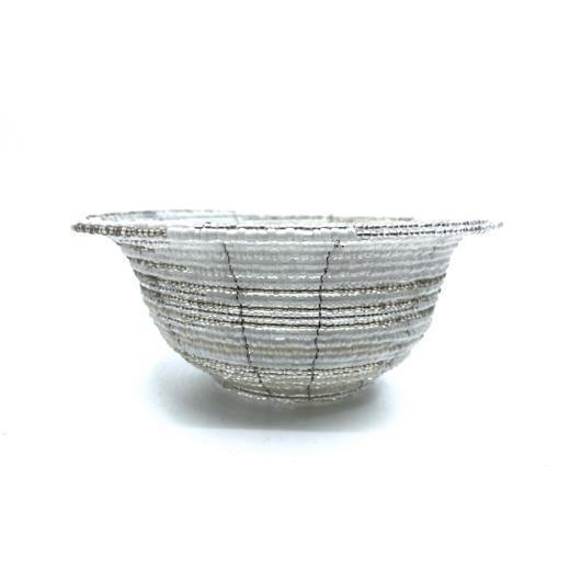 Skål - Glaspärlor vit/silver (6 pack)