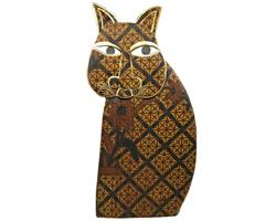 Bali - Katt batik i trä 50cm (2 pack)