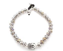 Armband - Buddha grå kristall (6 pack)