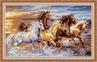 Diamond Painting, Villhester i galopp 81,9*51,5cm FPK