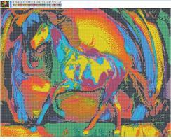 Diamond Painting, Fargerik Hest 50*40cm FPK