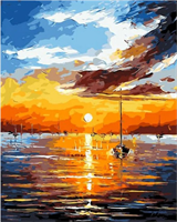 Mal eller nummer, Båt i solnedgang m/ramme 40*50cm