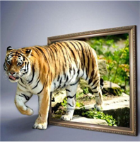 Diamond Painting, Tiger ut av ramme farger 40*40cm FPK