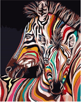 Mal eller nummer, Fargerik Zebra 40*50cm