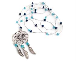 Halsband - Drömfångare pärlor silver & blå (4pack)