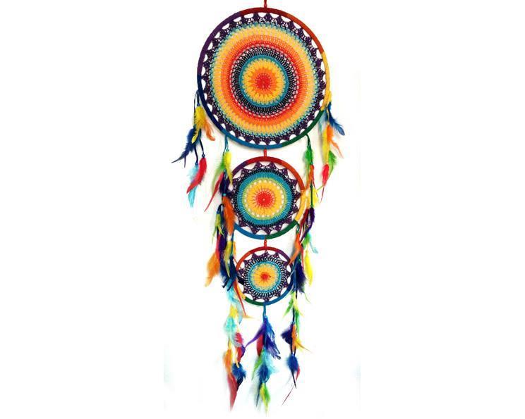Drömfångare - Rainbow trippel makramé (2 pack)