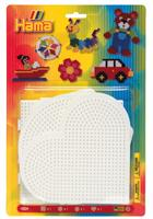 Hama Brett - Sett 4stk Stor, Kvadrat+Rund+Hjerte+Hexagonal