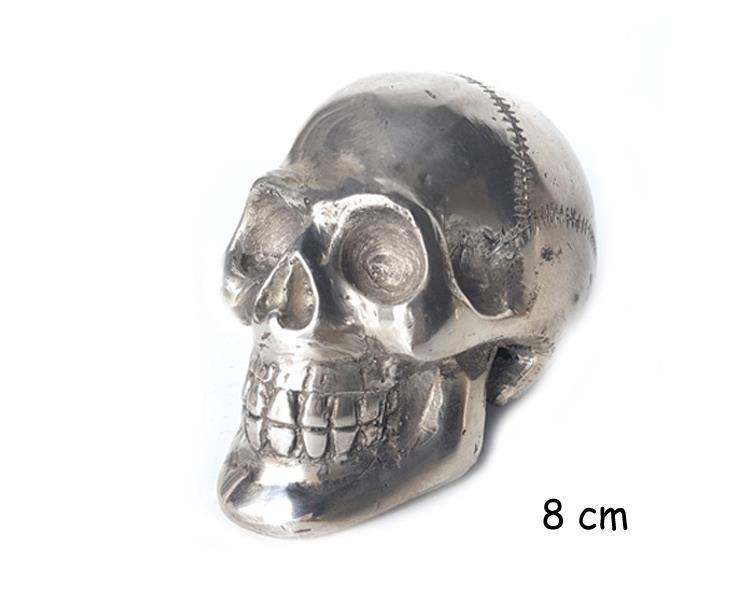 Brons - Silver skalle 8cm (4 pack)
