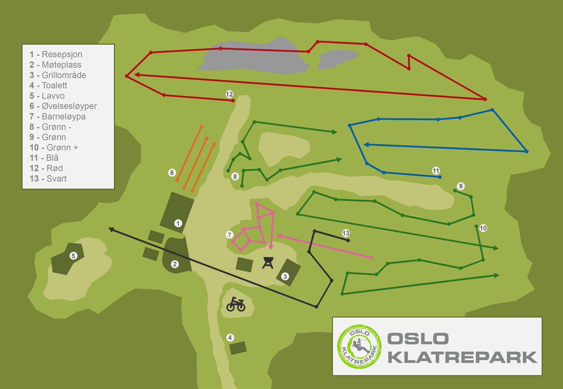 Oslo Klatrepark Oversiktskart