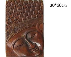 Träsniderier - Buddha ansikte 50cm (2 pack)