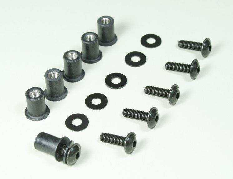 MRA-Sett Kåpeskruer 5mm med gummi mutter(6stk)