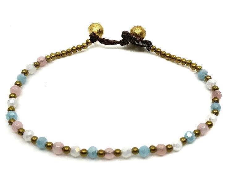 Armband - Mässing & pärlor rosa (6 pack)