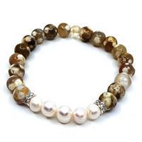 Armband - Agat & sötvattens pärlor (3 pack)