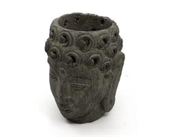Buddha - Blomkruka grå 14cm (6 pack)