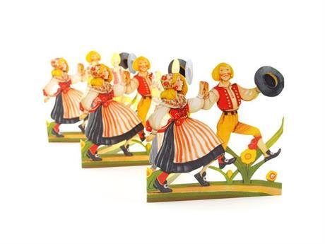 Dansande par i filkdräkt, pappersrad