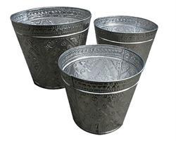 Aluminium - Set med papperskorgar/krukor (3 pack)