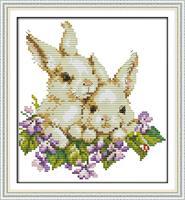 Broderi korssting, Kaniner 30*33cm (D490)