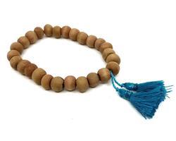 Mala - Armband trä blå tofs (10 pack)