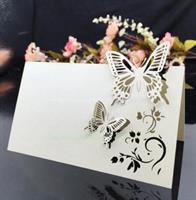 Bordkort - Beige/hvit Sommerfugl