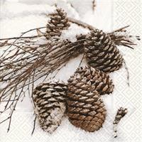 Juleserviett - Kongler på snø