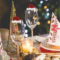 10 stk julepynt til vin glass/glass - Julenisse hatt
