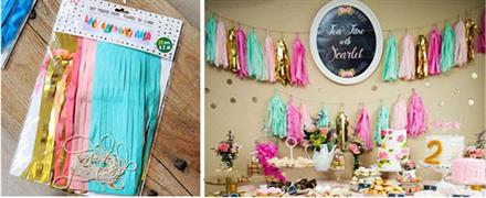 20 Stk Tassel - Tifany blue, light pink, pink, yellow and gold