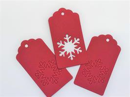 20 stk gave etiketter Snøfnugg - Rød