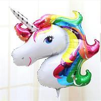 Stor Enhjørning Folie ballong - Rainbow 117 cm