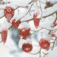 Juleserviett - Rød dekorkule på tre