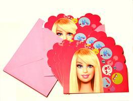6 stk Invitasjonskort - Barbie