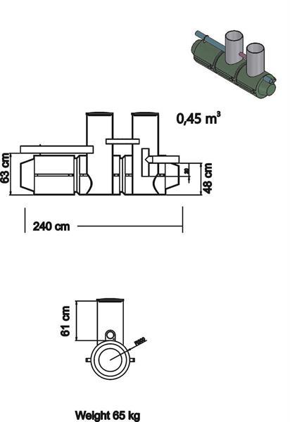 Saostuskaivo C450 l, kork 0,6 m