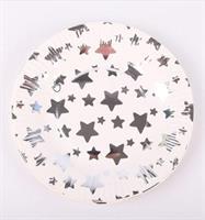 10 stk hvit tallerken med sølv stjerne 18 cm