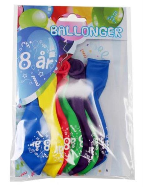 Tinka ballonger 8 pk 8 år Flerfarge
