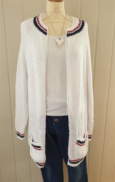 Lang strikke jakke, hvit